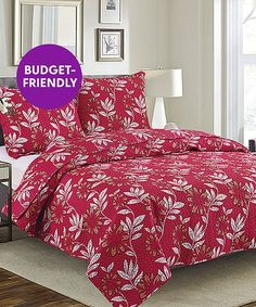HOME CLASSICS Quilt /& Shams FULL QUEEN Bedding RED Whimsical Snowflake Swirl NWT