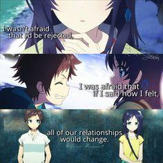 Anime: Nagi no Asukara Sad Anime Quotes, Manga Quotes, True Quotes, Les Sentiments, Anime People, Birthday Quotes, Anime Love, Quotations, Sayings
