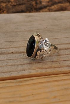 Sterling silver ring black onyx silver ring hibiscus flower ring sterling silver jewelry sizes 4 to 10 DK313 - pinned by pin4etsy.com