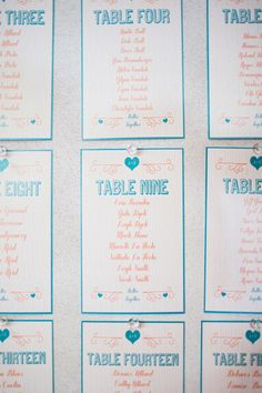 teal and orange seating chart // photo by Simply Rosie, styling by Amanda Douglas Events // http://ruffledblog.com/colorful-manitoba-wedding