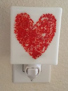 Heart Night Light from GlassMelts, LLC. Show someone that you love them with this cute, fused glass night light. This would be cute as a gift for a kid on V-day. #scottsmarketplace