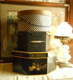 Antique Diagonally Striped Hatbox With Cloth Carrying Cord Home Decor Shabby Chic Paris