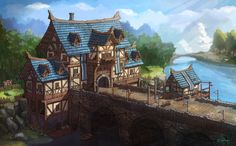 medieval gate house, Sihun Park on ArtStation at https://www.artstation.com/artwork/3wKyB