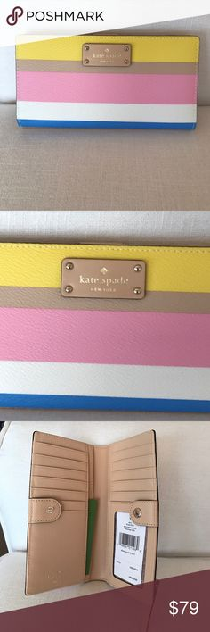 Kate Spade Stacy Grove Street Printed Wallet Kate Spade Stacy Grove Street Printed Wallet. NEW WITH TAGS. Inside has 12 card slots, ID slot, 4 slip pockets for cash or receipts, on outside of back there is a zippered coin pocket. kate spade Bags Wallets