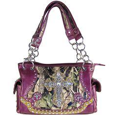 Purple Mossy Oak Handbags Wholesale Only | Wholesale Fashion Handbags Supplier - PURPLE WESTERN MOSSY CAMO CROSS ...