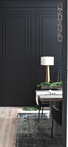 Our Bold Black Dining Room Reveal Styled For Christmas Moody Dramatic Black Dining Room With Modern Moulding Details Dining Room Walls, Dining Room Design, Wainscoting Dining Rooms, Dining Room Paneling, Black Molding, Tadelakt, Black Rooms, Wall Molding, Dining Room Lighting
