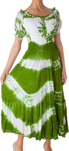 2-Tone Tie Dye Cap Sleeves Smocked Waist Tiered Guazy Long Dress $26.99