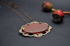 Mixed Metal and Carnelian Necklace from the by ErinAustin on Etsy