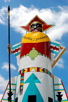 This giant Kachina stands outside the National Route 66 Museum in Elk City like a sentinel. She once stood in front of Queenans Trading Post, another Route 66 icon. Route 66 Oklahoma, Route 66 Road Trip, Historic Route 66, Travel Route, Us Road Trip, Travel And Tourism, Oklahoma Tourism, Travel Destinations, Elk City