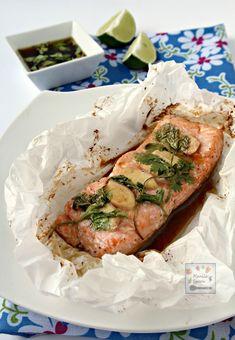 Salmon en Papillote w/ Ginger & Sesame Sauce (salmon fillets, soy sauce, rice wine, honey, sesame oil, ginger, cilantro/scallions)
