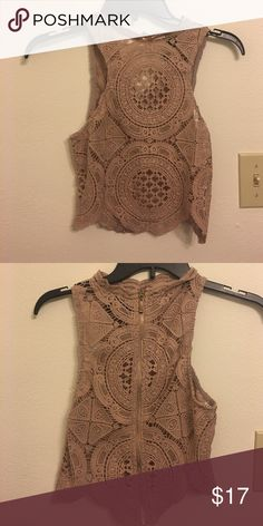 Crochet taupe crop top Very cute crop top from Windsor.  Perfect to wear with a bandeau or bralette underneath. Worn once.  Size small. Smoke free Home Tops Crop Tops