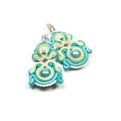 Soutache Earrings. Hand Embroidered Turquoise Earrings. Soutache Jewelry. Turquoise. Oriental. Colored Jewelry. via Etsy