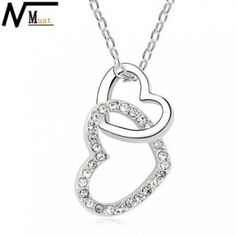 Free Shipping Brand Necklaces Rhinestone Pendant Heart Necklace for Girlfriend