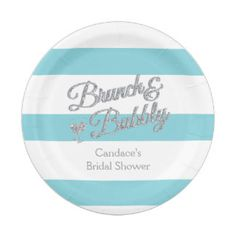 turquoise stripes bridal shower 7 inch paper plate