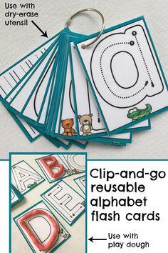 Clip-and-go reusable alphabet flash cards #alphabet #preschool #preschoolers #busybags #abc #affiliate