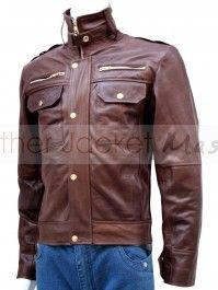 Men's 4 Front Pocket Brown Leather Jacket - Safford