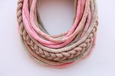 Knitted tube scarf in pastel tones by purpletube on Etsy, $35.00