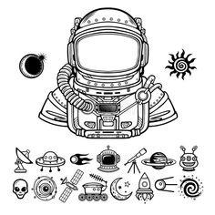 Animation Astronaut in a space suit. Set of icons. Vector illustration isolated on a white background. Print, poster, t-shirt, card vector illustration Alien Vector, Monsters Vs Aliens, Suit Drawing, Houston Tattoos, Astronaut Illustration, Astronaut Tattoo, Zentangle, Line Art Tattoos, Geometry Tattoo