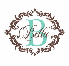 Name And Initial Vinyl Wall Decal Shabby Chic Damask Border - Custom vinyl wall decals damask