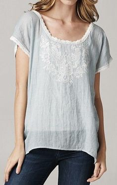 Embroidered Averly Tunic Top in Aspen Blue