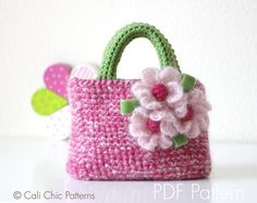 PATTERN 224 - Listing is a PDF PATTERN of how to make the Pink Berry Toddler Tote Bag    NOT A PHYSICAL TOTE FOR SALE.    ♥ Crochet pattern for