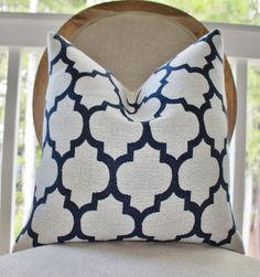 Decorative Blue Pillow Cover  Blue Ivory by MotifPillows on Etsy, $40.00