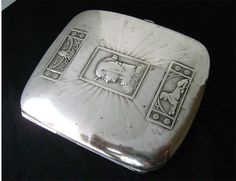 Art Deco Cigarette Case 800 Silver Egyptian by JustSparkles