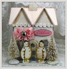 shabby chic, handmade, vintage style, snowman, Christmas cottage, paper house