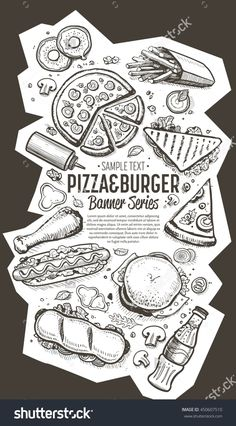 Banner with fast food hand drawn vector illustration. Template of fast food menu design with burger, pizza, hot dog, drinks and other fast food menu items. Cover of restaurant or cafe menu design.