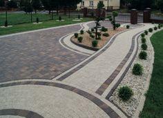 Outside Tiles, Paver Designs, Paving Ideas, Driveway Landscaping, Pebble Mosaic, Landscape Edging, Stained Concrete, House Entrance, Pathways