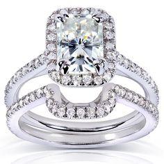 Annello by Kobelli 14k Gold Radiant-cut Moissanite 1/2ct TDW Round-cut Diamond Bridal Set