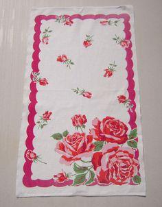 Vintage Towel Startex Red Roses by unclebunkstrunk on Etsy