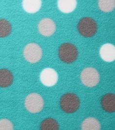 Blizzard Fleece Fabric - Bright Aqua Dot