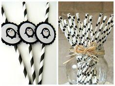 Canudos personalizados para a festa preto e branco - Fotos: Pinterest
