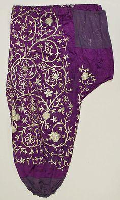 'Íşlemeli şalvar' (embroidered baggy trousers).  Adorned with goldwork in 'sarma' / 'Maraş işi' technique.  Late-Ottoman, 19th century.  Possibly from Algeria.  (Metropolitan Museum of Art, New York).