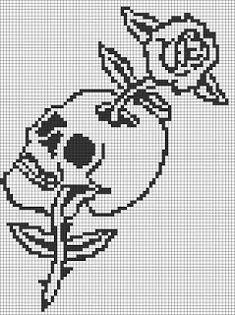 Alpha friendship bracelet pattern added by skull bones rose flower tattoo. Crochet Skull Patterns, Perler Patterns, Loom Patterns, Embroidery Patterns, Cross Stitch Skull, Cross Stitch Charts, Cross Stitch Patterns, Pixel Art Coeur, Cross Stitching