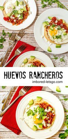 Huevos Rancheros for brunch! Eggs, rancheros sauce, refried beans on tortilla.  A favorite Mexican breakfast!