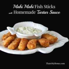 Mahi mahi fish sticks coated with panko and served with homemade tartar sauce. (Baking Salmon With Mayo) Fish Dishes, Seafood Dishes, Fish And Seafood, Mahi Fish, Mahi Mahi, Fish Recipes, Seafood Recipes, Cooking Recipes, Recipies