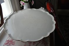 "RARE 19th CENTURY ENGLISH WHITE IRONSTONE PEDESTAL HUGE 18"" TURNING CAKE STAND"