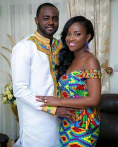 Ghanian couple in kente African Attire, African Wear, African Women, African Dress, African Outfits, African Beauty, African Traditional Wedding, Traditional Dresses, Traditional Weddings