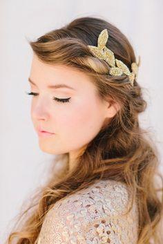 Gold Bridal Fascinator, Beaded Leaf Headband, Grecian Bridal Hair Piece, Tiara, Halo, Crown, Wedding Headpiece, Cleo Ships in 1 Month. $78.00, via Etsy.