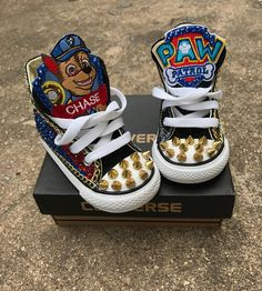 Custom Paw Patrol Chuck Taylor Converse Great for any occasion birthdays, back to school, and just because your kid would love their favorite character on a sneaker! converse can be any color!! If you would like a different color please state it in the checkout comment section!