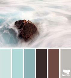 This is very close to the mid-century chocolate and turquoise palette that I love so much. The blues need to be more turquoise (or aqua) than these sea-foam colors, and the gray could also be a very pale pink for a lighter touch.