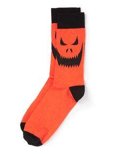 Orange Pumpkin Pattern Halloween Socks - Men's Socks  - Clothing