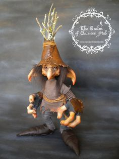 Faerie Creatures.Desmond the throwing of acorns. Fantasy Art doll by Silver Berry. Froud Style. Ooak Art Doll polymer clay One of a Kind Fantasy Sculpture.