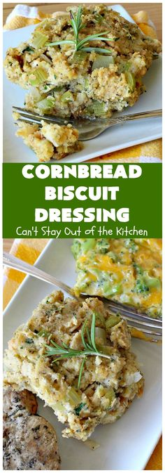 Cornbread Biscuit Dressing | Can't Stay Out of the Kitchen | This fantastic #stuffing #recipe for #turkey is made with #biscuits & #Jiffy #cornbread. Terrific side dish for #Thanksgiving or #Christmas. #TurkeyDressing #TurkeyStuffing #southern #CornbreadBiscuitDressing #GooseberryPatch