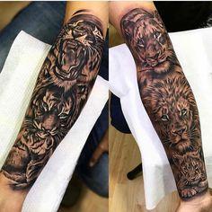 Lion legs Tattoos Family Sleeve Tattoo, Full Sleeve Tattoo Design, Leg Sleeve Tattoo, Family Tattoos, Lion Leg Tattoo, Leg Tattoo Men, Tiger Tattoo, Forearm Tattoos, Cute Tattoos