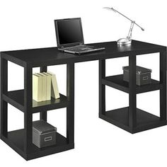 Mainstays Double Pedestal Parsons Desk, Multiple Colors.  Black.  Walmart $89.  We can get pink or black bins for the shelves too.