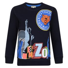 ee8da798 Kenzo Kids Boys Navy Statue of Liberty and Tiger Print Sweatshirt