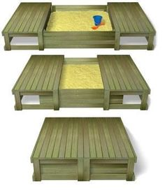 sliding lid sandpit- when kids outgrow it, convert it to a raised garden bed w/ garden benches.